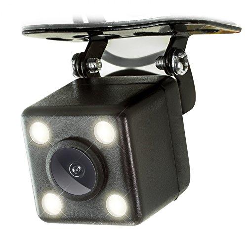 XOMAX XM-020 Auto Rückfahrkamera Set mit Halterung, Nachtsicht mit 4 leistungsstarken LED Lampen, Einparkhilfe: Distanz Linien in Farbe, PAL und NTSC, Sichtbereich: Weitwinkel 170°, 5m Video-Kabel
