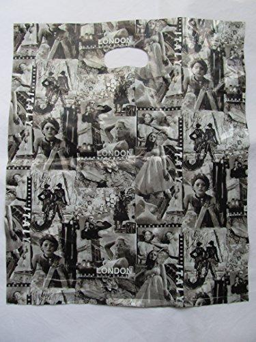 45 + grande de alta calidad periódico Revista de la pasarela de moda blanco y negro plástico bolsas impresión estampada para tiendas, mercados 40 x 41 cm por Fat-Catz-Copy-Catz, color Fashion print: 40cmx41cm 42cmx47cm