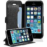 Cadorabo - Funda Book Style en Diseño FINO para Apple iPhone 5 / 5S / 5G - Etui Case Cover Carcasa Caja Protección con Tarjetero y Función de Soporte en NEGRO