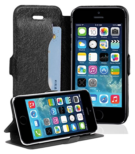 Cadorabo - Étui / Housse de Protectio fermeture aimantée design: Fine Book Case pour Apple iPhone 5 / 5S / 5G en BLANC NOIR