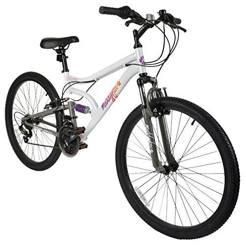 51ubqSUt4nL. SS500  - Muddyfox Inspire, Womens Dual Suspension 18 Speed Mountain Bike - White/Grey, 26 inch Wheels.