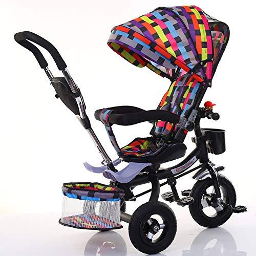 LAZ Dreirad fahrrad leichte kinderwagen, kompakte klappbare legierung stubenwagen mädchen und jungen kleinkind neugeborenen wagen, uv-schutz baldachin, geeignet von geburt an (Color : E) (Baldachin Wagen)