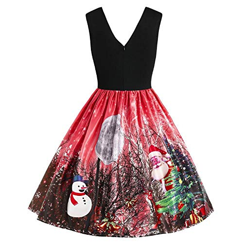 (Weihnachten Kleid,Dasongff Ärmelloses Weihnachtenkleid,Frauen Rockabilly Lang Elegante Kleider Festliche Damenkleider Vintage Bodycon Party Christmas Dress)