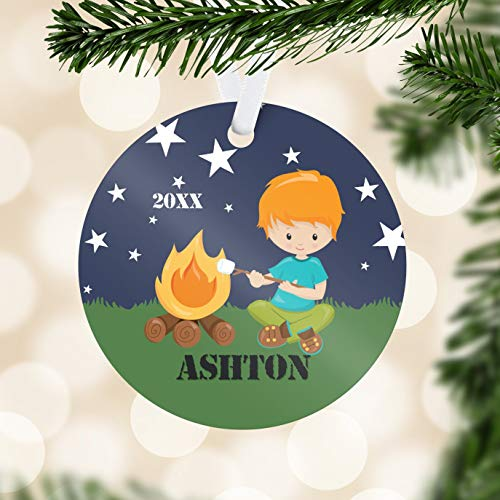 C-US-lmf379581 Camping Ornament Camp Fire Camping Holiday Ornament Camper Name Personalized Ornament You Pick Kid Kids Personalized