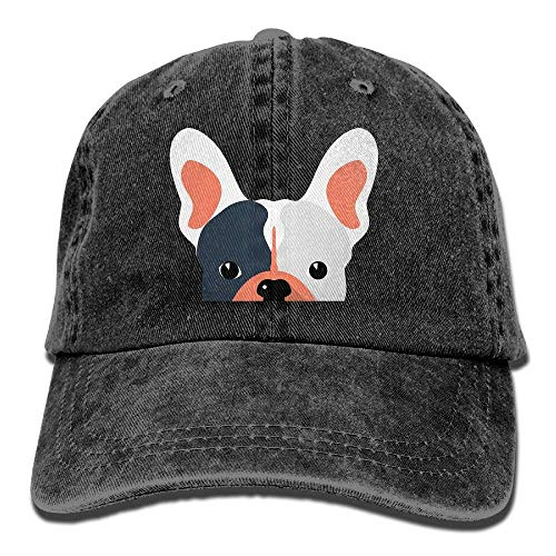 Aoliaoyudonggha French Bulldog Denim Baseball Caps Hat Adjustable Cotton Sport Strap Cap for Men Women -