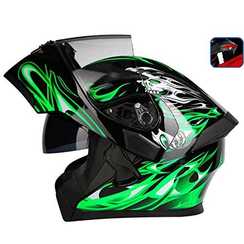 OUTO Scoprire Il Casco Moto Outdoor Riding LED fanale Posteriore Attenzione HD Anti-Nebbia Specchio Integrale Casco Uomini e Donne Cool (Colore : Black Green Devil, Dimensioni : L.)