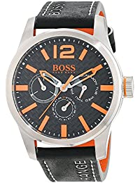 Hugo Boss Orange Paris Men's Quartz multi dial Black Leather Strap 1513228