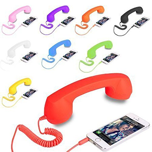 VOLTAC` ™ COCO PHONE Radiation Free Phone 3.5mm Wired Retro Handset Receiver (Color May Vary) Pattern #143116