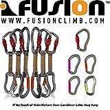 Fusion Climb 6-Pack de 11cm Quickdraw Set con Techno Wave Burgundy Tornillo Puerta mosquetón/Techno Zoom Naranja Puerta Recta Carabiner