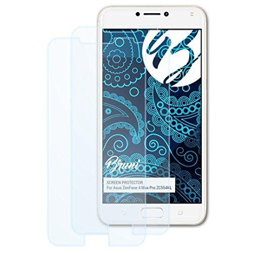 Bruni Schutzfolie für Asus ZenFone 4 Max Pro ZC554KL Folie, glasklare Bildschirmschutzfolie (2X)