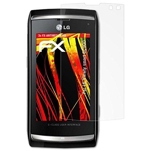 atFolix Schutzfolie kompatibel mit LG Viewty smart GC900 Displayschutzfolie, HD-Entspiegelung FX Folie (3X) Viewty Smart Screen