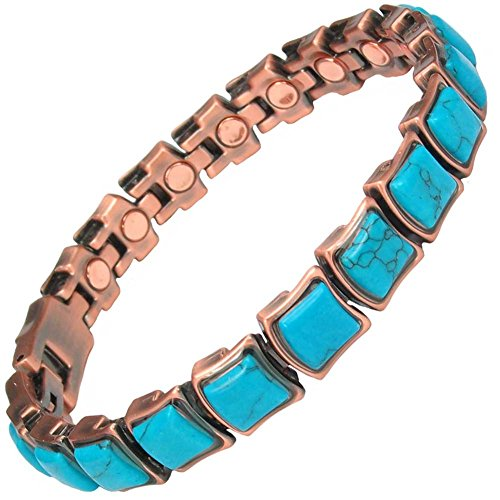 MPS Megan Turquoise Wide, Kupfer Reichen, Magnetische Armband mit Klappschließe + FREI Werkzeug -, um Links zu entfernen