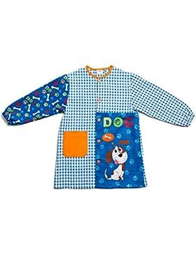 Dyneke Bata escolar botón azul Dog(personalización opcional gratuita con nombre bordado)