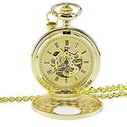 ZEIGER Herren Taschenuhr Analog Mechanisch Handaufzug Uhr Skelett Taschenuhr Armbanduhr Gold Herren Uhr W347