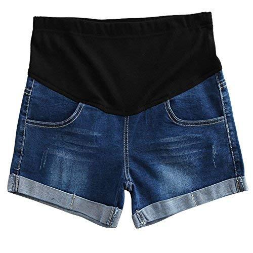 Hzjundasi Donna Premaman Shorts jeans Leggings Maternità Regolabile Ventre Banda Pantaloni