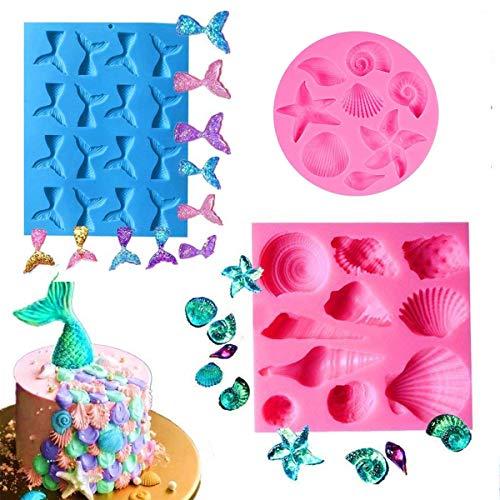 Herefun 3 Stück Silikon Fondant Kuchen Formen, Meerjungfrau Schwanz und Seashell Silikon Formen, 3D Silikon Dekorieren für Jelly Sugar Candy Schokolade Kinder Party Geburtstag Deko