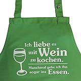 Grillkönig Ich liebe es mit Wein zu kochen. Manchmal gebe ich ihn sogar ins Essen. - Kochschürze (lime)