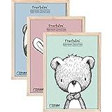 Frechdax® 3er Set Bilderrahmen 21x30 A4 Holz Rahmen für Kinderzimmer Poster schwarz | Weiss | Natur (Natur, A4 (21x30cm) / 3 Stück)