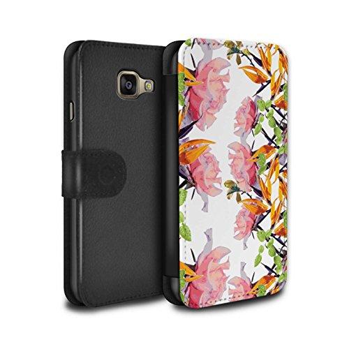 STUFF4 PU-Leder Hülle/Case/Tasche/Cover für Samsung Galaxy A5 (2016) / Üppiges Aquarell Muster / Klassisches Rosa Blumen Kollektion