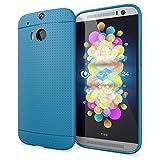NALIA Handyhülle für HTC One M8 M8S, Ultra-Slim Case Cover, Dünne Punkte Schutzhülle, Etui Handy-Tasche Back-Cover Bumper, TPU Silikon-Hülle für HTC One M8S M8 Smart-Phone - Mesh Blau