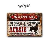 Aussie Zeichen, Funny Metall Schilder, Hunde Warnschild, Australian Shepherd, Funny Hund Schild, geschützt durch, Warnschild, Aussie Geschenk
