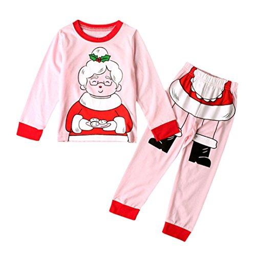 Weihnachten Oma Outfits Hirolan Kinder Tops Hemd Hose Set Kleider Kleinkind Baby Mädchen Nachtwäsche (110cm, Rosa)