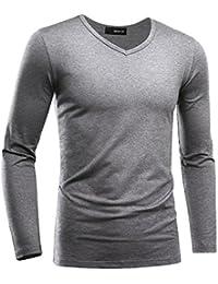 HEMOON Homme T-shirt Col V Manches longues Melange de coton Uni Tops