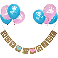 Boy or Girl Banner and Gender Reveal Balloons Set for Baby Shower Gender Reveal Party Pregnancy Announcement