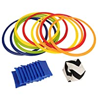 Alomejor-Hopscotch-Jumping-Rings-Spiele-Jump-in-The-Circle-10-Multi-Colored-Plastic-Ringe-und-10-Steckverbindern-und-1-Sandsack-Ideal-fr-Jungen-und-Mdchen-Spielen-im-Park