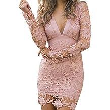 Juleya Mujer Elegante De Encaje Sin Espalda Bodycon Coctel Vestido De Fiesta