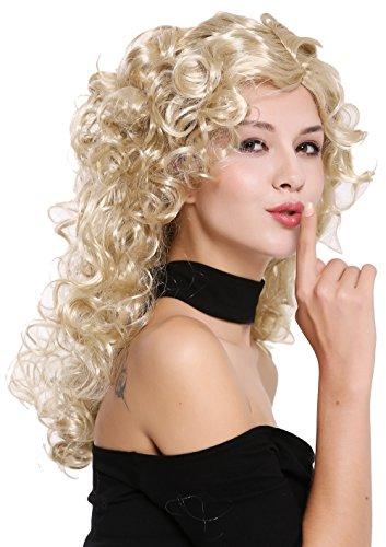 9/ZA88 Perücke Damen Karneval Halloween super voluminöse Locken Lockenpracht Mähne Blond gesträhnt lang Femme Fatale (Preiswerte Perücken)