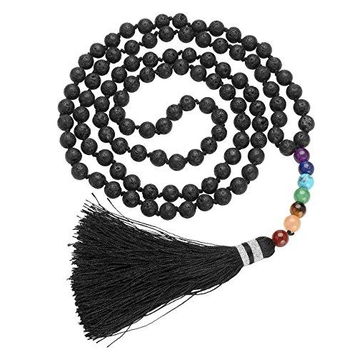 JOVIVI 108 Perlen Gebetskette Buddha Mala Tibetische Edelstein Armband Kette Halskette Buddhistischer Schmuck,Lava Stein