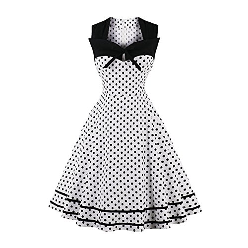 CMKEJI Damen 50er Vintage Retro Rockabilly Kleid Hepburn Stil Polka Dots Kleid Partykleider Plus Size Cocktailkleider Festliches Kleider(Weiß L)