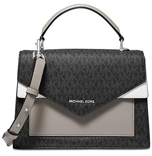 MICHAEL Michael Kors Ludlow Signature Leather Satchel Bag, Black Pearl Grey -