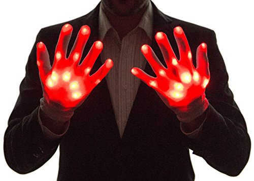 NEON NIGHTLIFE Guantes Light Up del Muchacho, LED, Azul Guantes Light Up del Muchacho, LED, Rojo
