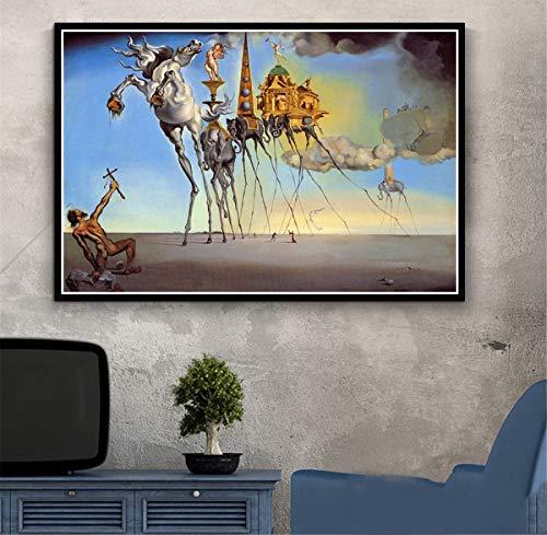 RUIYAN Leinwandbilder Wandkunst Bild Salvador Dali Surrealismus Abstrakte Poster Drucken Geschenk Ta74C 40X60Cm Rahmenlose