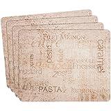 Ladelle Tischset Gourmet 26x33,5x0,5cm 4 Stück, Hartfaser/Kork, Mehrfarbig, 30 x 30 x 20 cm, 4-Einheiten