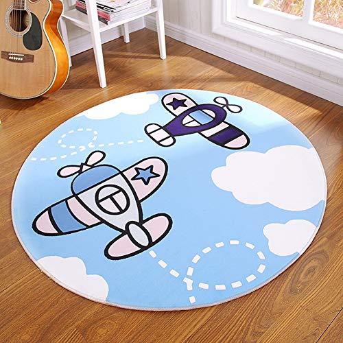 CHENG Teppich Runde Flugzeug Cartoon Kinder Decke 3D Print Zeitgenössische Teppich Waschbar kriechende Matte,diameter180cm -