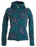 Vishes – Alternative Bekleidung – Mit Blumen Bestickte Patchwork Jacke aus Baumwolle, mit Zipfelkapuze türkis-rosa 42