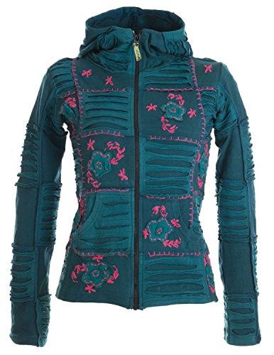 Vishes – Alternative Bekleidung – Mit Blumen bestickte Patchwork Jacke aus Baumwolle, mit Zipfelkapuze türkis-rosa 46