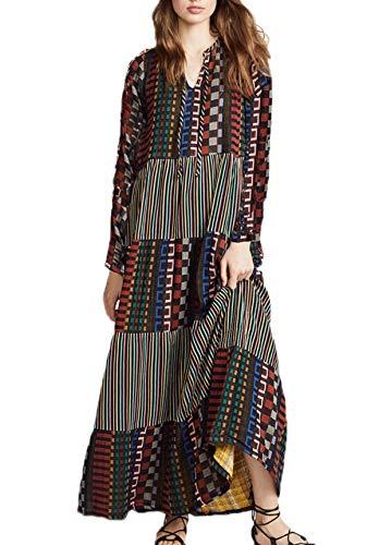 Simple-Fashion Frühling und Herbst Damen Maxikleid Bequeme Mode V-Neck Langarm Kleider Partykleider...