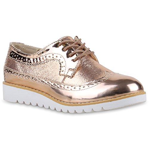 Damen Halbschuhe Lack Glitzer Brogues Dandy Schuhe Profilsohle Rose Gold