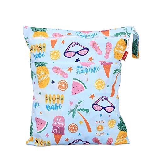 Damero wetbag nasstasche wiederverwendbar, windeltasche wetbag, Wetbag windelbeutel für Babys Windeln, schmutzige Kleidung und anderes Zubehör, (Mittel, Sommerferien)
