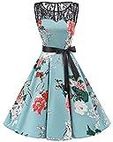bbonlinedress 1950er Ärmellos Vintage Retro Spitzenkleid Rundhals Abendkleid Green Flower S