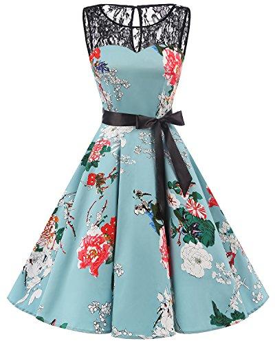 bbonlinedress 1950er Ärmellos Vintage Retro Spitzenkleid Rundhals Abendkleid Green Flower M (Für 1950er Kinder Kleidung)