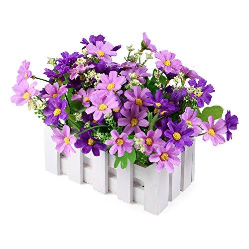 iche Blumen Fake Rose in Pot Pack-Mini-Topfpflanze, mit Lattenzaun X-Small Daisy-Purple ()