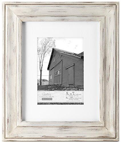 Großhandel Bilderrahmen Holz (Malden International Designs Whitman White Wash mattierte Holz Bilderrahmen, 5x 7/8x 10, weiß)