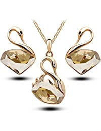 Valentine Gifts : Shining Diva Fashion Stylish 18K Gold Plated Crystal Jewellery Pendant Necklace Set With Earrings...