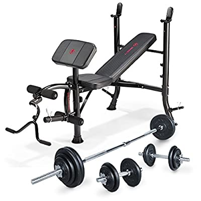 Marcy Eclipse Starter Weight Bench with 50kg Cast Iron Barbell & Dumbbell Set by Accell Fitness