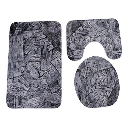 artistic9(TM) 3/Set Badezimmer mehrere Stil Ständer Teppich + Deckel WC-Deckelbezug + Badteppich, F, 50x80cm Auto-lack-ständer